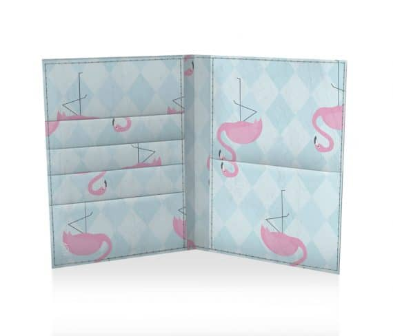 dobra passaporte flamingos geométricos