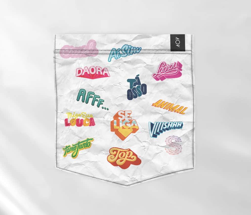 dobra branca bolso - stickers
