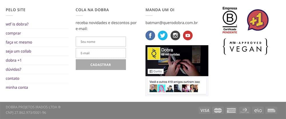 selos no canto do site da dobra