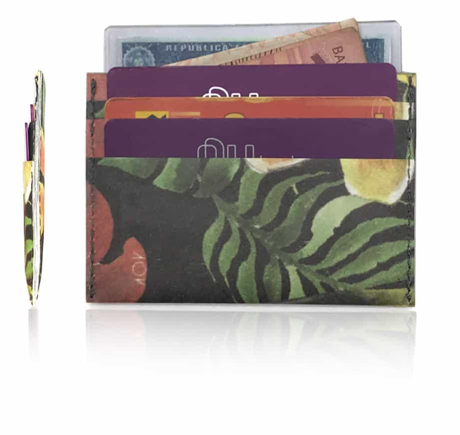 carteira porta cartão da dobra - de frente e lado