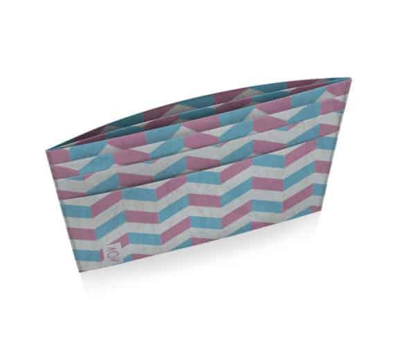 dobra porta cartão zig zag azul e rosa