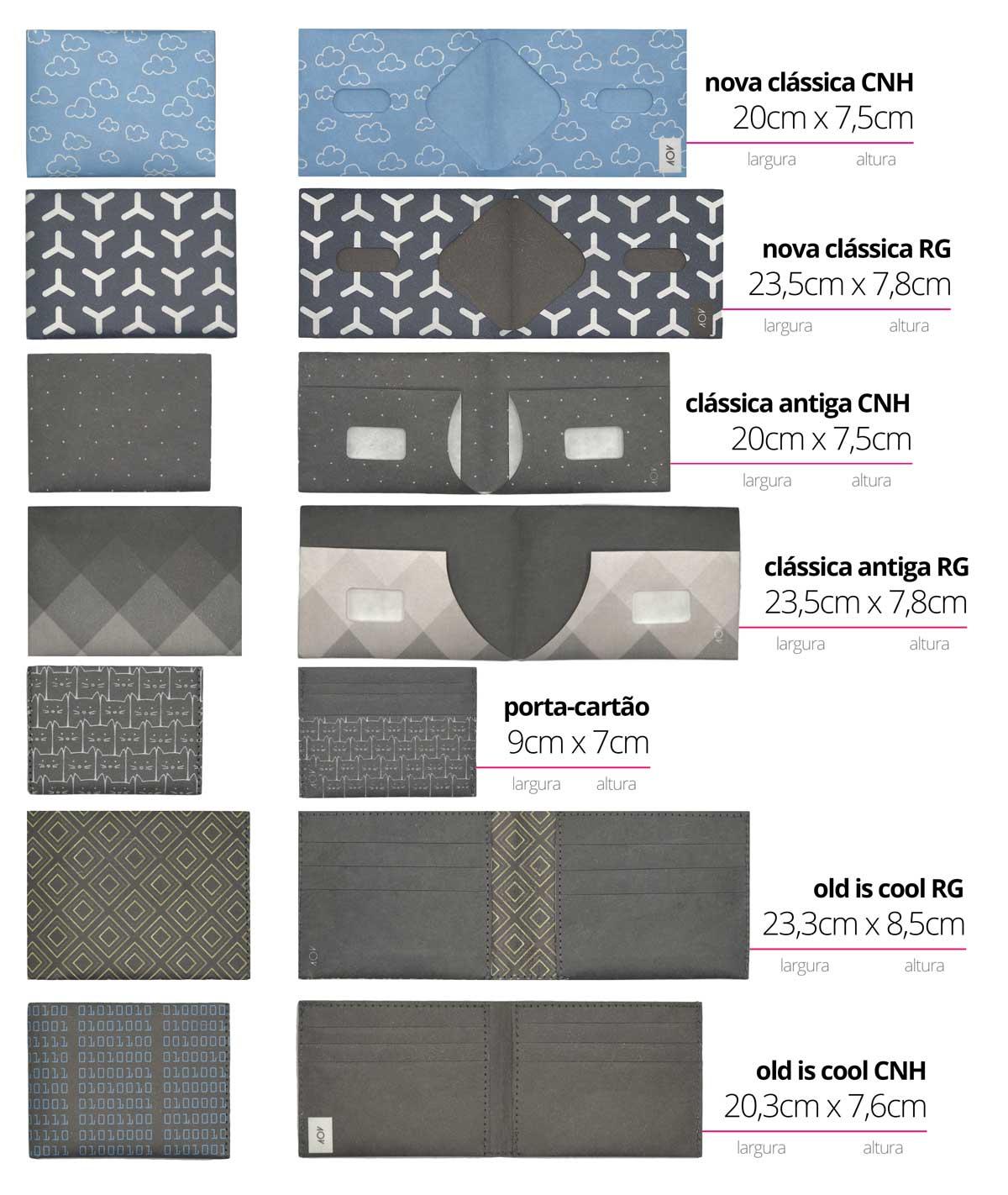 comparativo de carteiras dobra - tamanhos e modelos