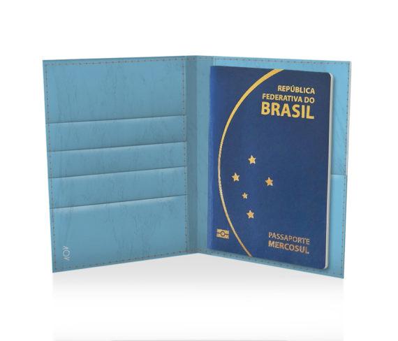 dobra porta passaporte azul liso