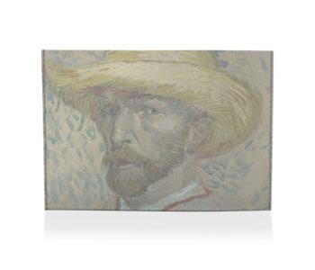 porta cartão autorretrato com chapéu de palha