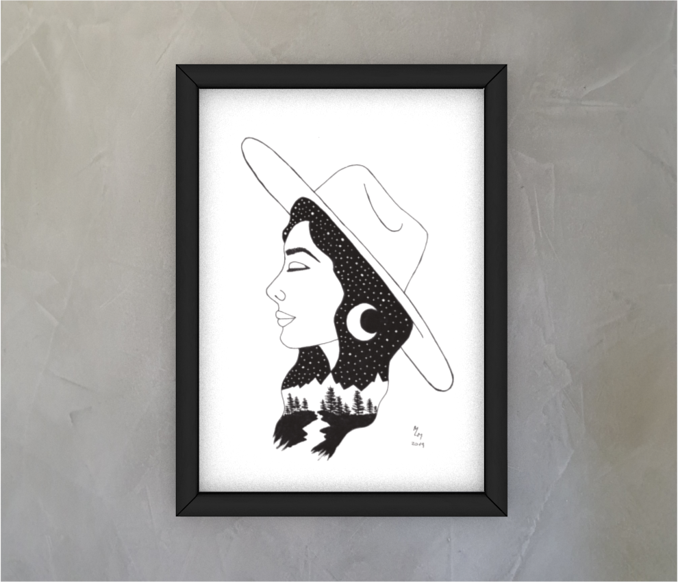 dobra - Quadro - moça de chapéu