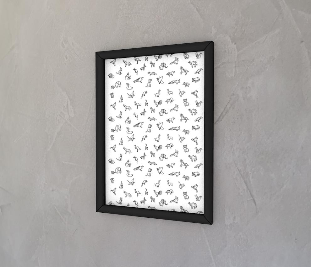 dobra - Quadro - Origami Animais - Branca