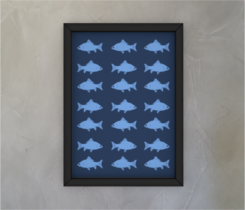 dobra - Quadro - Peixes Azuis