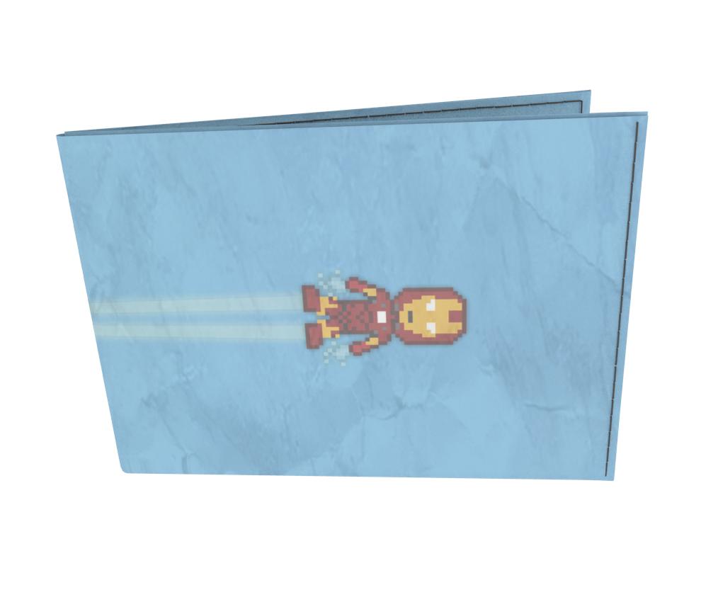 dobra - Carteira Old is Cool - Homem de Ferro Pixel Mário