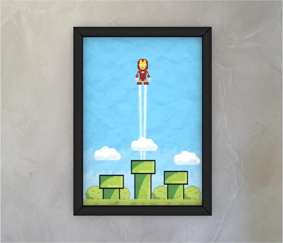 dobra - Quadro - Homem de Ferro Pixel Mário