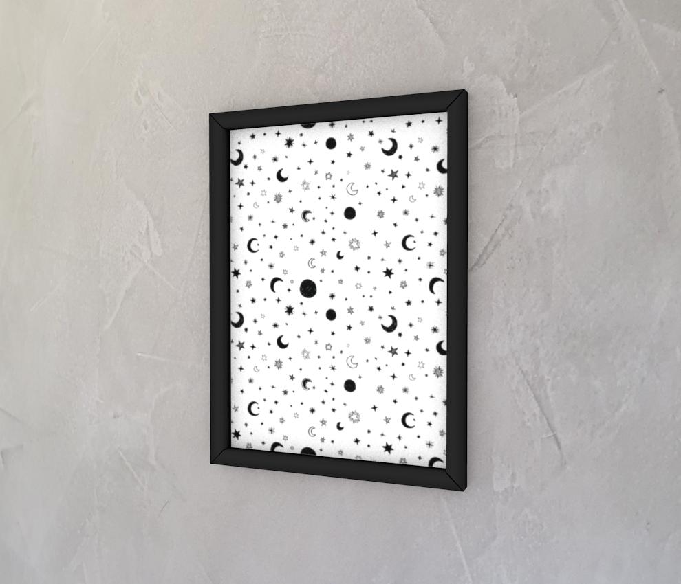 dobra - Quadro - White Moon and Stars