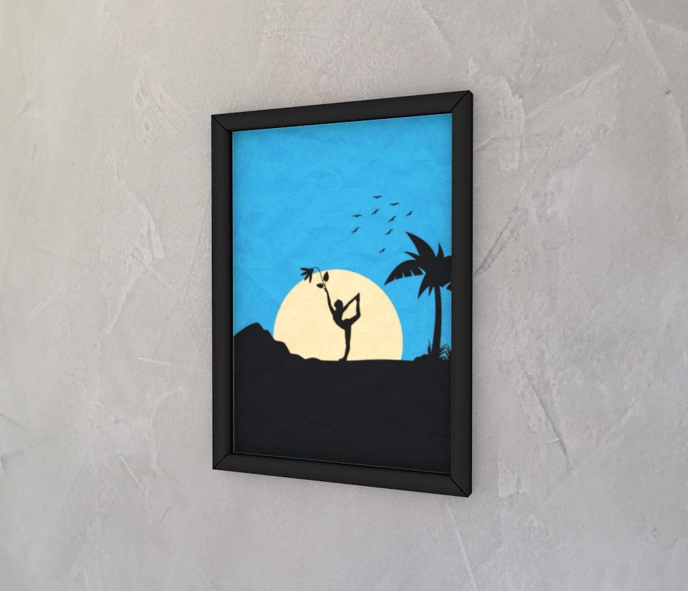dobra - Quadro - Sombras da natureza e yoga à luz do luar - azul