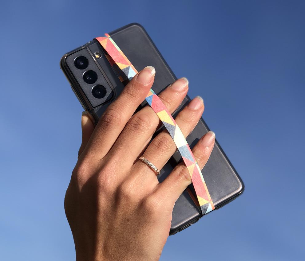 dobra fita celular triangulos coloridos
