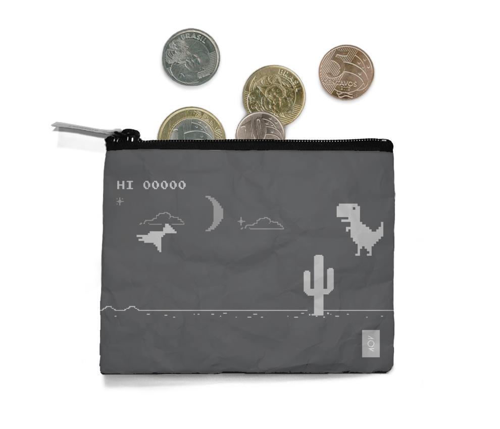 dobra - Porta Moedas - Sem Dinheiro - Dinossauro - Modo Noturno