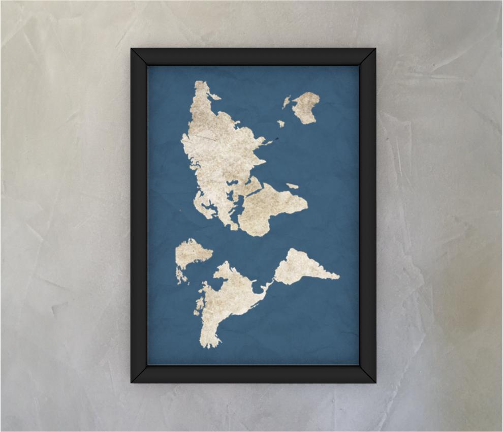 dobra - Quadro - mapa mundi azulzão